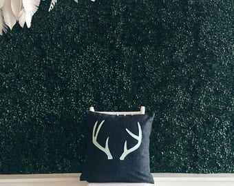 "Charcoal with Mint Antlers Pillow Cover - 18"" x 18"" - Recycled Fabric"