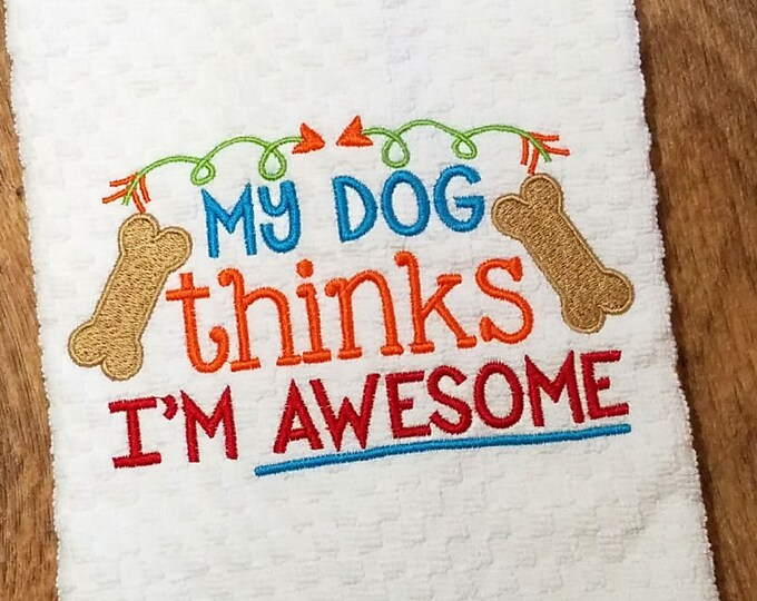 Kitchen Towel, Pet Themed Towel, Waffle Weave, Embroidered Towel, Dog Themed Gift, House Warming Gift, Shower Gifts