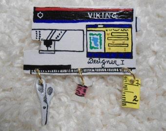 Sewing Machine Pin,Viking Designer 1, sewing machine pin. Broach, Decorative Jewelry, stylish pin, sewing motif, collectible,