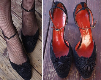 Late NIGHT in PARIS 1960's Vintage Black Suede Leather High Heels w/ Ankle Straps + Pom Poms // size 7.5 M 8 // by Charles Jourdan // FRANCE