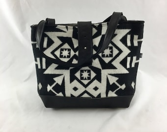 SALE Ann Bag in Condensed Pattern with Black Leather