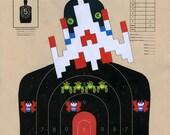 Galaga - Hand Painted Paper Shooting Target Art
