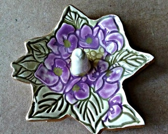 Ceramic Ring Holder Dish Purple Flower edged in gold