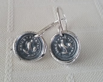 "Rooster Wax Seal Earrings - Symbolic Jewelry, Courage, Vigilance, Protection and Perseverance ,""While I live I'll Crow"", Year of the Rooster"