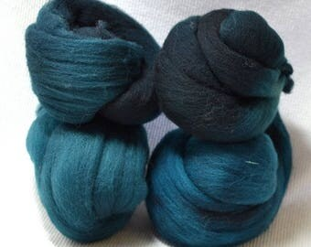 NEW Hand Dyed Gradient Fiber Set - American Targhee Combed Top in Dark Teal Semi Solid 2 ounces - Play With Your Fiber!