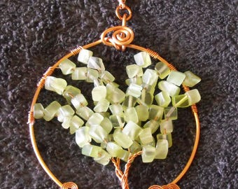 Tree of Life Pendant, Copper Frame, Cats Eye Pale Green Chips, Free Domestic Shipping, Sun Catcher, Lobster Clasp, 24 in chain, Gift for Her