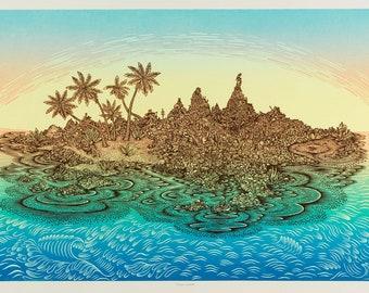 Woodcut Print, Woodblock Print, Desert Island by Tugboat Printshop