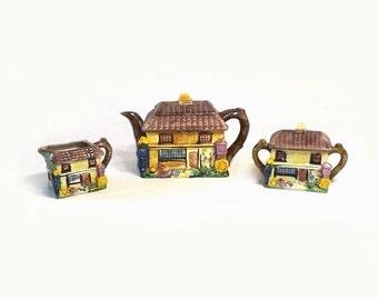 Cottage Ware Tea Set, Vintage Ceramic Teapot Creamer and Sugar Bowl, Dickens Village Kitchen, Ye Olde Curiosity Shoppe, Made in Japan