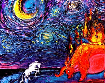 Last Unicorn Art - Starry Night Giclee print van Gogh Never Faced The Red Bull by Aja 8x8, 10x10, 12x12, 20x20, and 24x24 inches choose