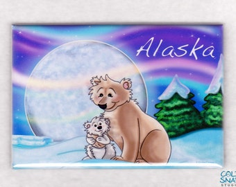 ALASKA Magnet, Polar Bears under the Northern Lights U.S. State Souvenir Fridge Magnet