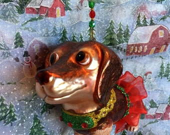 Adorable Dachshund Glass Christmas Ornament with Handmade Hanger, Unique Gifts, Whimsical Gifts, Dog Lover Gifts,