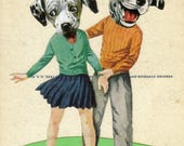 Funny Dog Art, Original Collage, Cute Animal Art Gift, Fun Dalmatian Artwork, Animal Spots