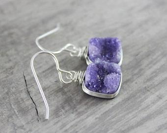 Violet Druzy Earrings, Dangle Earrings, Drop Earrings, Purple Gemstone Earrings, Druzy Quartz, Light Purple Earrings, Wire Wrap Earrings