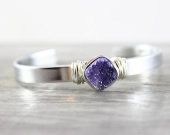 Purple Druzy Cuff Bracelet, Aluminum Metal Bangle, Druzy Bangle Bracelet, Silver Druzy Bracelet, Dark Purple Bracelet, Wire Wrap Bracelet