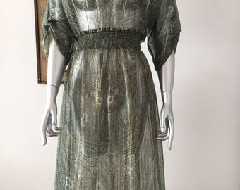 Green and Gold Sheer Paisley Print Dress with Shirred Waist