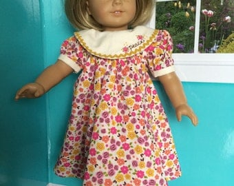 18 inch doll clothes- Floral PEACE Party Dress