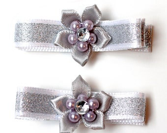 New Year Hair. Christmas Hair Bow. Silver Glitter Hair Clips With Non-Slip Grips. Baby Toddler Girl Xmas Hairclips Set of 2. Hair Clippies