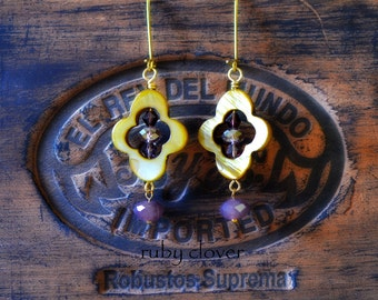 Purple and Brown Earrings, Quatrefoil, Medieval Jewelry, Gold Shell, Golden Quatrefoils, Casual Everyday Earrings, Medium Sized,  Gold Toned