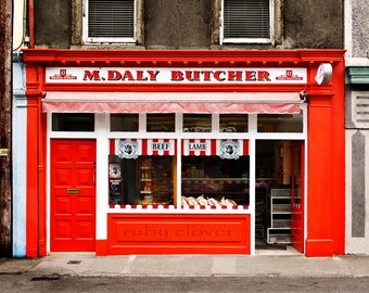 Irish Shop Front, Skibbereen, Co. Cork , DALY, Butcher Shop Photo, IRELAND Photography, Colorful Town, Rebel County, Red Storefront, Flesher