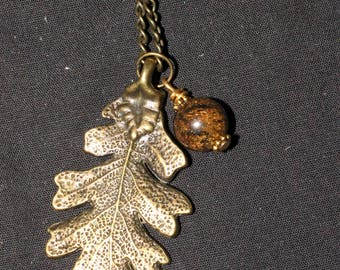 Oak Leaf & Bronzite Pendant on a chain - Fertility, Strength and Courage - Pagan, Oak, Woodland, Forest, Charm necklace