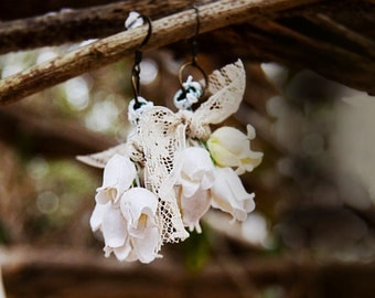White Foxglove Paper Flower Earrings - Bohemian Flower Earrings - Bohemian Bridal Earrings - Flowers and Lace - Gifts for Her