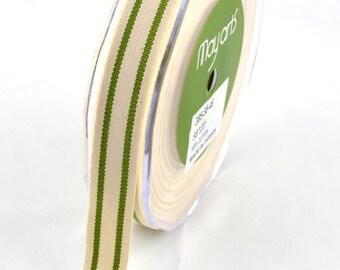 MAY ARTS Ribbon - 1 yard - 5/8 Inch Cotton Blend Ribbon with GREEN Stripes - Sku: 385-58-46