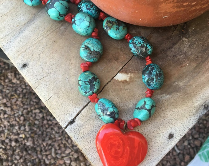 Turquoise Beaded Heart Necklace * Chunky Stones * Turquoise Necklace *Heart Necklace