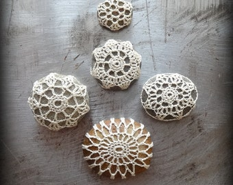 Miniatures, Crochet Lace Pebbles, Table Decorations, Collectibles, Small, Collection of 5, Handmade, Ecru, Original, Monicaj