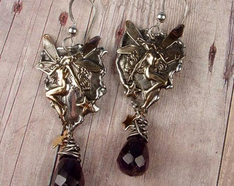 AMETHYST FAIRY Earrings - Sterling Silver, Brass Fairy Motif, Purple Amethyst Full Briolette Drops