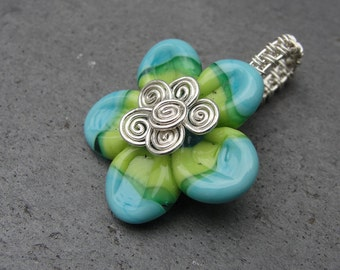 Spring Flower Lampwork Glass  Wire Wrapped Pendant