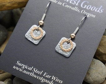 Aluminum and copper earrings on hypoallergenic surgical steel ear wires