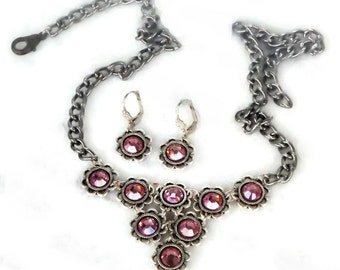 Swarovski crystal  light rose strass vintage style two piece set earrings and necklace,antique silver flower setting