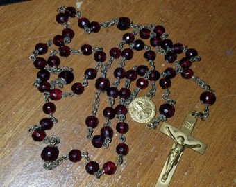 Vintage Deep Ruby Red Crystal Glass Rosary Gold tone Crucifix
