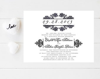 10 Damask Wedding Rehearsal Dinner Invitations - Damask Rehearsal Invitation - Rehearsal Invitation - Wedding Rehearsal Invitation - Wedding