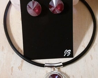 Black leather necklace with Dark Red Swarovski Crystal in a round silver plated pendant with or without matching earrings