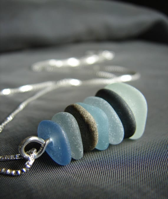 Sea Stack beach pebble and sea glass necklace
