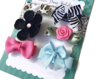 INFANT HAIR BOWS, baby hair bows with Velcro, bows for baby girl, set of 6 hair bows with Diva Sassy Cheetah Zebra print black pink Newborn