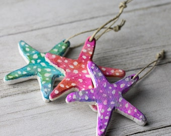 Starfish ornaments - Alcohol ink Starfish ornament - Ornament exchange - Christmas gift - Colorful ornaments - Sea life ornaments - Beachy