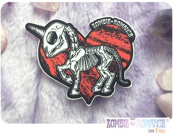 Zombie Romance Unicorn Skeleton Die Cut Vinyl Sticker