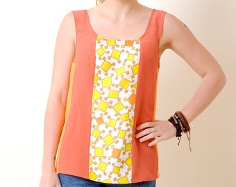 Orange and yellow tank top - Sleeveless top in vintage fabrics and orange jersey, Summer clothing, Womens tops, MALAM, size S
