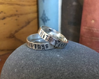 Plays With Fire Sterling Silver 4.5mm ring - Any Size