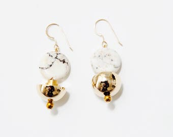 Marble Earrings - Natural Marble Magnesite. Gold Half Moon Earring. New Spring Fashion. Stone Earrings - AW17 004