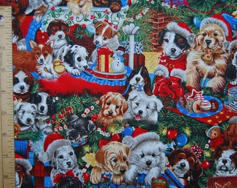 Christmas fabric dog lover fabric Robert Kaufman Christmas Stockings quilting fabric Jenny Newland