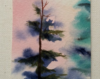 ACEO Fir Tree Mini Painting, Watercolor, Forest, Woodland, Tiny Art, Friend Gift, Teacher Gift, Collage Wall Art, Tree Card, Optional Easel