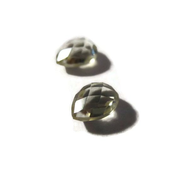 Two NON DRILLED Gemstones, Matching Yellow Lemon Quartz Teardrops for Making Jewelry & Setting, 8mm x 6mm (Luxe-Nd5)