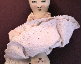 Topsy Turvy doll , ooak art doll,sandy mastroni, whimsical wall art