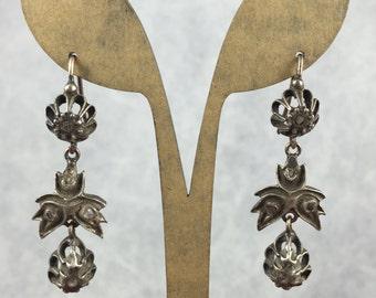 Antique GEORGIAN Rose Cut DIAMOND GIARDINETTI Earrings of Rose Gold and Silver. 1700s 1800s Vintage Fine Jewelry, Georgian jewelry, Diamond