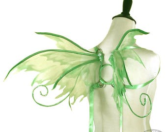 Penelope No. 14 - Small Organza Fairy Wings in Mint Glitter Swirl and Brown - Strapless Convertable