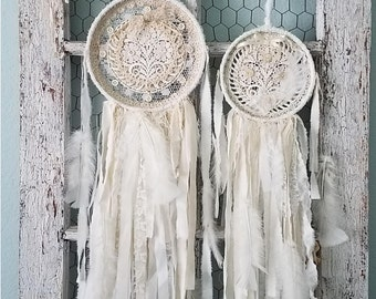Duex Flower Dreams - Abandoned Vintage Fabric, Crochet, and Lace Shabby Chic Wedding, Nursery, and Home Decor Dream Catcher
