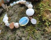 Neutral Gemstone Beaded Bracelet - WhiteBeige Clear - Dangle Heart - Brass Funky Bohemian Womens Jewelry - Boho Chic Hippie Gypsy